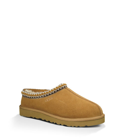 UGG Men's Tasman Sheepskin and Suede Slipper in Chestnut, Size 7