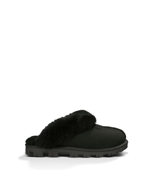 UGG Women's Coquette Slipper In Black, Size 9 Take your self-care seriously with this slipper. As soft as it is versatile, the Coquette features our soft sheepskin and a lightweight sole that travels both indoors and out with ease. Pair with athleisure basics or a midi skirt and tank for casual daytime wear. This product was made in a factory that supports women in our supply chain with the help of HERproject, a collaborative initiative that creates partnerships with brands like ours to empower and educate women in the workplace. UGG Women's Coquette Slipper In Black, Size 9