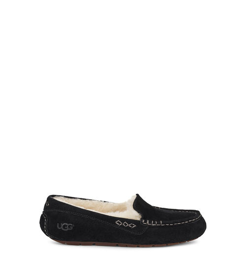 UGG Women's Ansley Sheepskin Suede Slipper in Black, Size 10